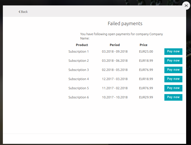 Failed Payments screen