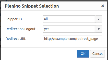 Snippets dialog redirect URL